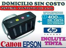 SISTEMA CONTINUO DE TINTA FULL TINTA INSTALADO PARA HP CANON EPSON