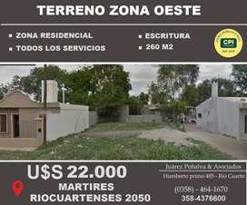 TERRENO 13 X 20 MARTIRES RIOCUARTENSES 2050