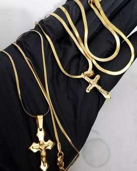 Cadenas unisex acero baño oro