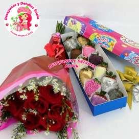 Flores con fresas de chocolate