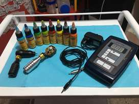 Máquina de tatuar tipo inkjecta y cheyenne más tintas, fuentes y cables