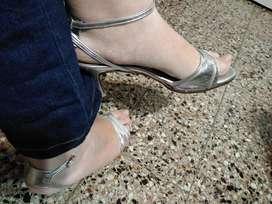 Zapatos de fiesta sandalias plateadas 40 41