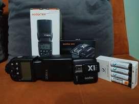 Flash Godox TT600 + Transmisor para Nikon + Baterías recargables Sony