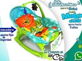 Silla Vibradora-Mecedora de Bebé MELO EL LEÓN para niños o niñas, hasta 3 años.