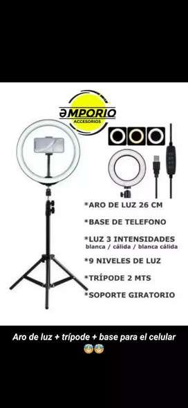 Aro de luz LED + trípode + base para celular