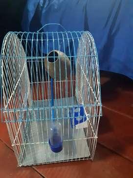 se vende linda jaula para pajaro con todo color azul y blanco