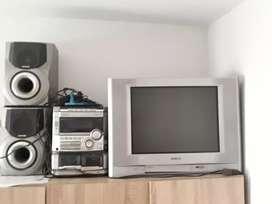 Televisor Sony y equipo de sonido aiwa