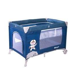 Cuna corral Ebaby azul, 1 mes de uso, perfecto estado, muy practico y fácil de ensamblar.