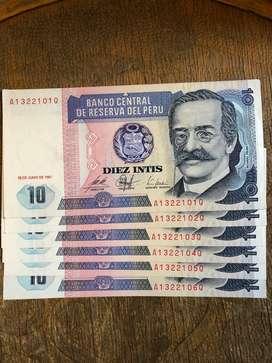 Billetes de 10 Intis Nuevos Ricardo Palm