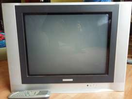 "Televisor Telefunken 21"" pantalla plana con control remoto."