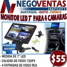 """MONITOR LED DE 7"""" PARA 4 CAMARAS"""