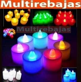 Velas Led Multicolores Ultra Brillantes Ideal para Decoraciones