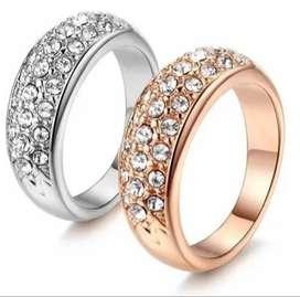 anillo de compromiso mujer oro 18k incrustaciones suizas regalo pareja esposa matrimonio boda aniversario