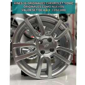 RINES 16 CHEVROLET SONIC ORIGINALES 4H CASE 100, COMO NUEVOS , ENVIOS NACIONALES