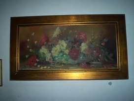 Cuadro antiguo al oleo en tela con excelente marco firmado