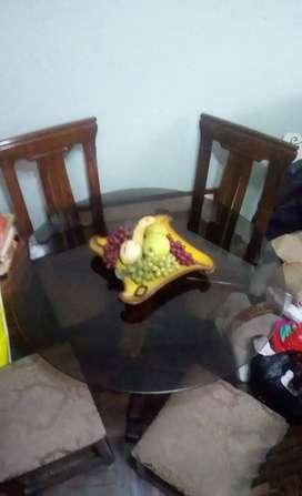 Juego de comedor mesa redonda