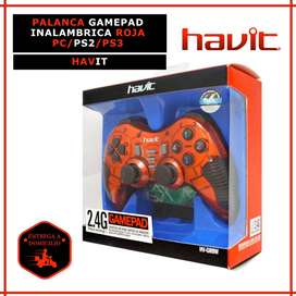 PALANCA GAMEPAD INALAMBRICA COLOR ROJO PC/PS2/PS3