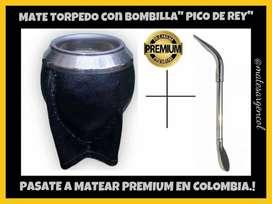 COMBO DE MATE  PREMIUM! MATE TORPEDO y BOMBILLA PICO DE REY de ALPACA