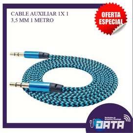 Cable Audio Estéreo 1×1 Auxiliar Doble Jack 3.5 1 mm 1 Metrom Audífonos