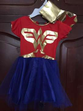 Vestido de mujer maravilla de niña de 1 año