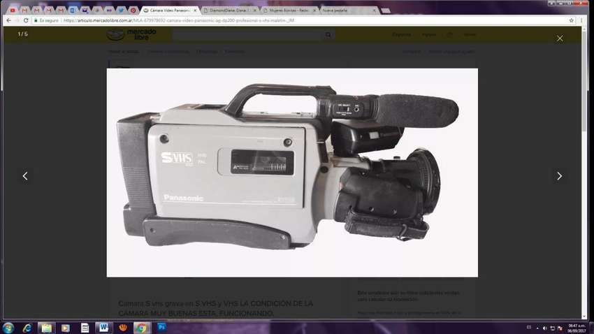 VENDO FILMADORA PANASONIC super VHS Hifi SVHS AG 196 PRO LINE VALOR  500.000 pesos 0