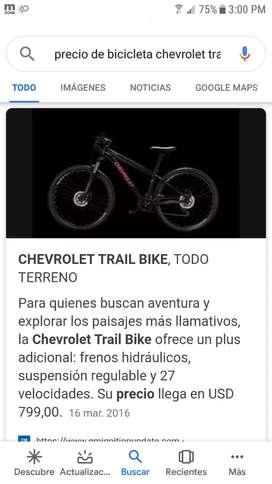 Vendo o cambio con audiocar bicicleta Chevrolet traíl
