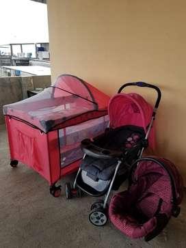 Cuna corral, coche y porta bebe