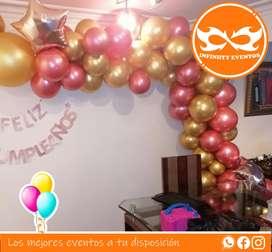 Lindas decoraciónes en arco en bombas para todo tipo de evento cumpleaños y celebraciones de toda clase