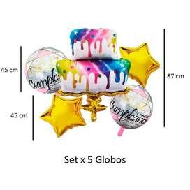 Globos Torta Set X5 Bombas Pastel Ponque Celebrar 87 Cm