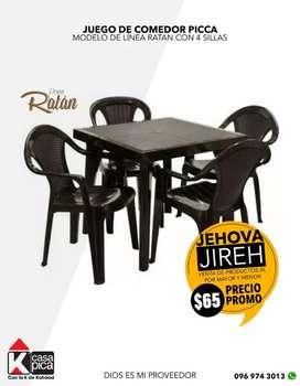 juego comedor pika ratan nuevo incluye 4 sillas