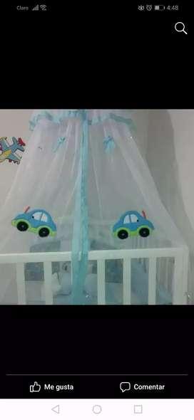 Se vende lenceria para camacuna niños protector de barandas doble faz y toldillo motivo carrito