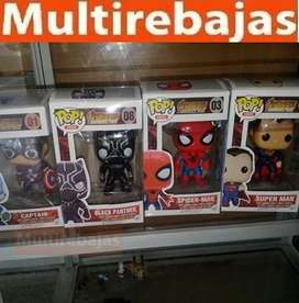 Muñeco Funko Pop Spider Man, Superman, Capitain, Black Pan