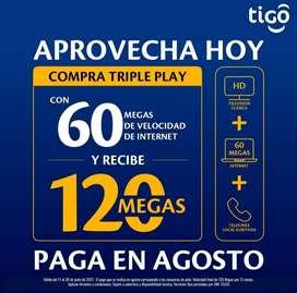 LLEVA 120 MEGAS DE VELOCIDAD A PRECIO DE 60 MEGAS Y PAGAS EN AGOSTO