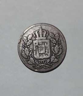 Moneda de Baviera, medio kreuzer de 1856
