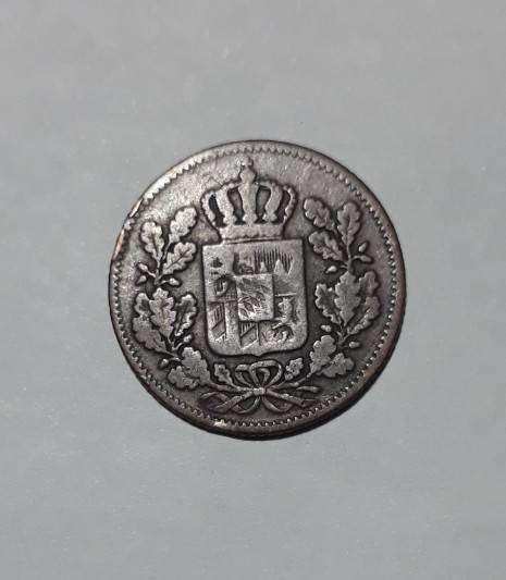 Moneda de Baviera, medio kreuzer de 1856 0