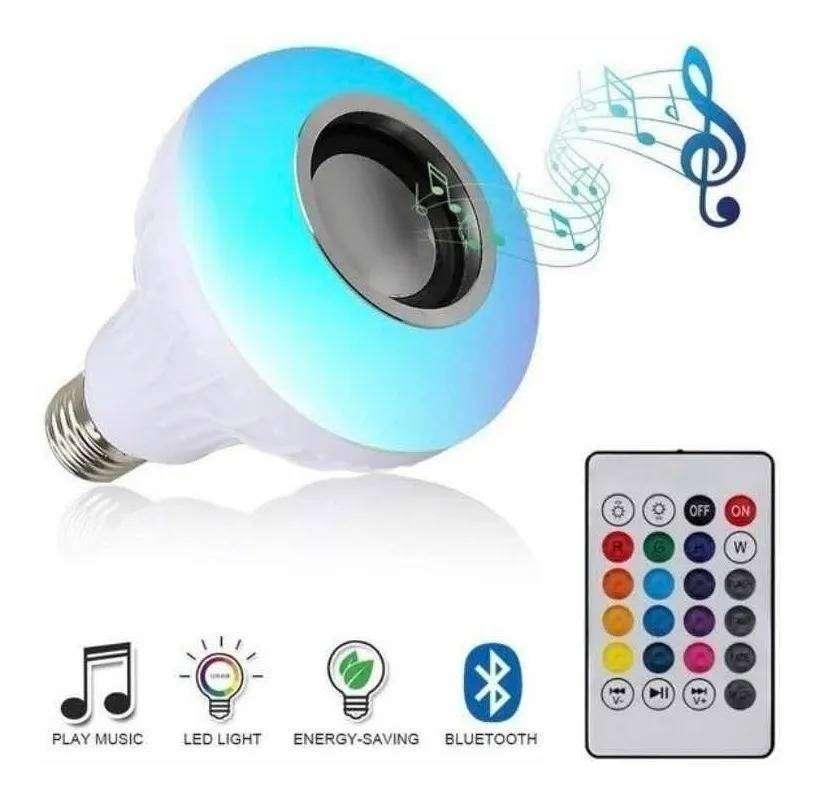 Foco Lampara Luz 12w Led Parlante Stereo Con Control 0