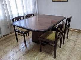 Juego de comedor: Mesa extensible y 4 sillas de madera maciza de gran calidad