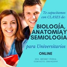 Clases personalizadas de biología, anatomía y semiología, ayuda en exámenes.