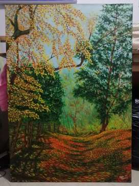 "Cuadro en óleo sobre lienzo ""sendero en otoño"""