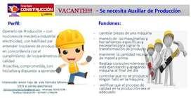 Se requiere auxiliar de producción con conocimiento de mecánica industrial y electricidad