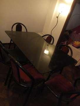 Juego de comedor completo en vidrio rectangular Fume 140x80 Y 6 Sillas