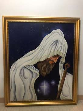 Cuadro en oleo del retrato de Melquisedec pintado a mano