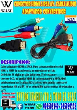 Conector Hdmi A Rca Av. Cable Audio Adaptador Convertidor