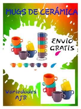 Hermoso Set De Mugs Cerámica (V)