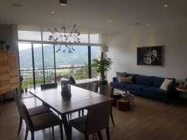 Cumbaya, departamento de venta, 3 dorm, balcon, estar, vista.  Conjunto con piscina y guardianía privada.  Ruta Viva