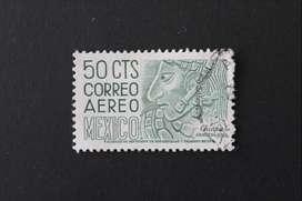 ESTAMPILLA MÉXICO, 1950, BAJO RELIEVE, CHIAPAS, USADA