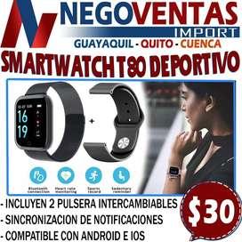 SMARTWATCH T80 DEPORTIVO EN DESCUENTO EXCLUSIVO DE NEGOVENTAS