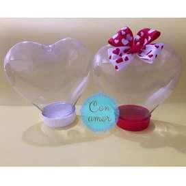 Frascos de corazon plasticos