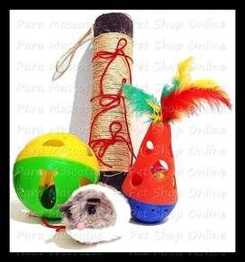 Set de juguetes para gatos: rascador, pelota sonajero, ratón, giroscopo