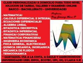 INGENIERO, TUTOR PROFESIONAL, SOLUCION DE EXAMENES DE MATEMATICAS, ESTADISTICA, CALCULO, FINANZAS, TALLERES, LECCIONES